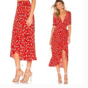 Faithfull the Brand Celeste midi ruffled wrap red